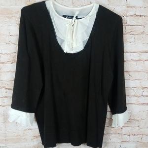 Sharagano Black 3/4 Sleeve white ruffle XL